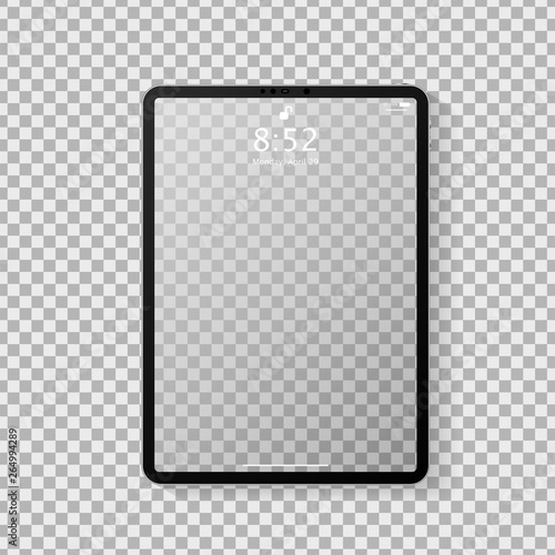 Fototapeta Realistic tablet computer mockup with transparent empty lock screen. Modern tablet PC template design isolated on grey transparent background. Vector Illustration obraz na płótnie