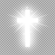 Shining Silver Cross Isolated ...