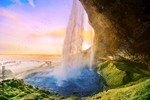 Photo Stands Forest river View of Seljalandsfoss waterfall at dawn in winter in Iceland.