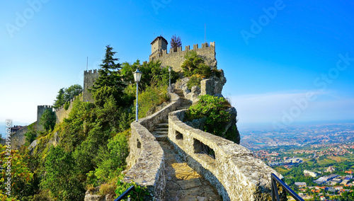 View of the Guaita fortress located on the peak of Monte Titano in San Marino.