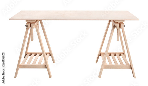 Fotografie, Tablou work table, wooden plywood shelf on two trestles, isolated on white background,