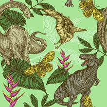 Beautiful Vintage Color Background With Dinosaurs, Butterflies, Tropic Leaves And Heliconia Flowers. Engraving Style. Vector Illustration.