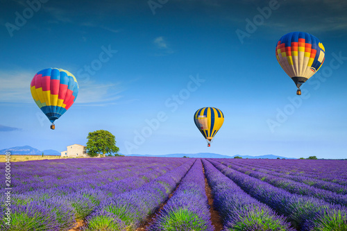 Admirable violet lavender fields and colorful hot air balloons, France