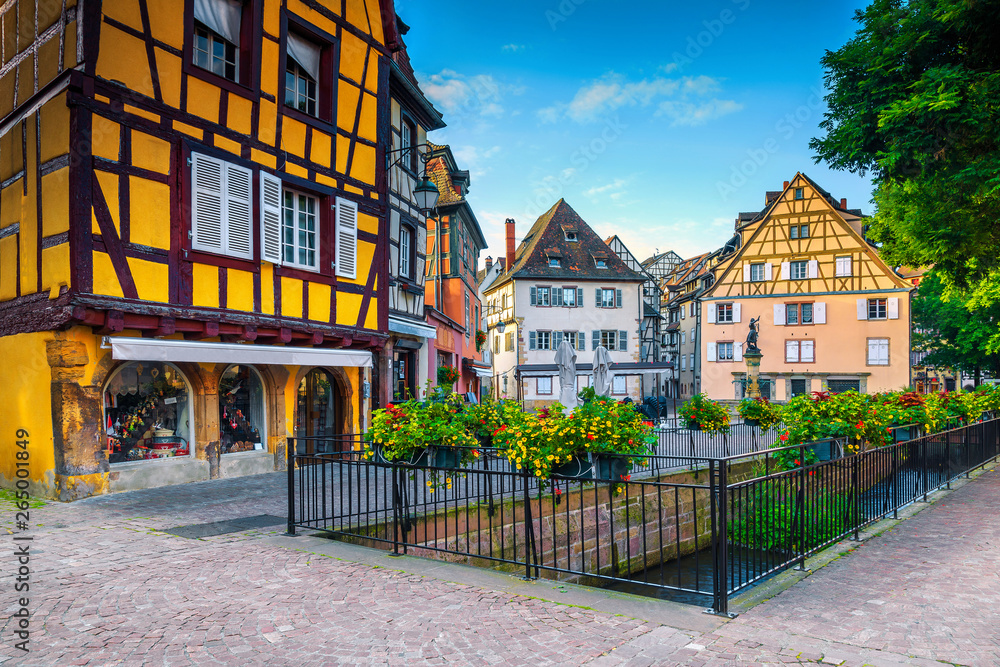 Fototapety, obrazy: Beautiful medieval city center with colorful buildings, Alsace, Colmar, France
