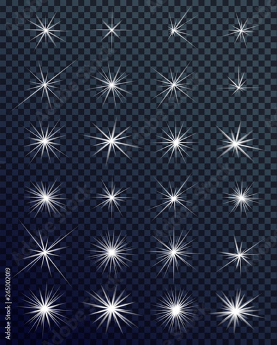 Obraz Set of Glowing light effects. Sparkles. Shining stars, bright flashes of lights with a radiating. Transparent light effects in vector. - fototapety do salonu