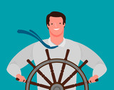 Smiling businessman at the helm of the ship. Business success, cartoon vector illustration