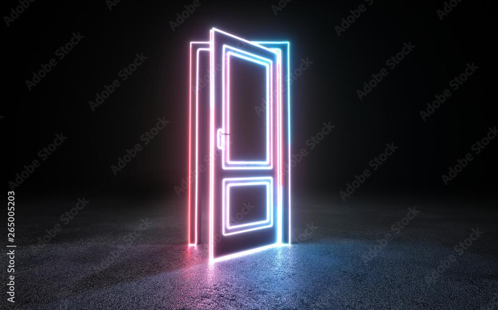 Fototapety, obrazy: Neon background. Cyberpunk electronic night background concept.