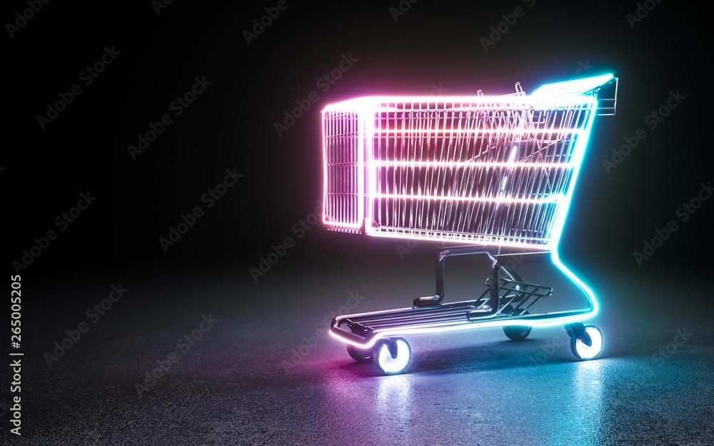 Fototapeta Neon background. Cyberpunk electronic night background concept.
