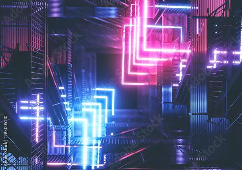 Stampa su Tela Neon background. Cyberpunk electronic night background concept.