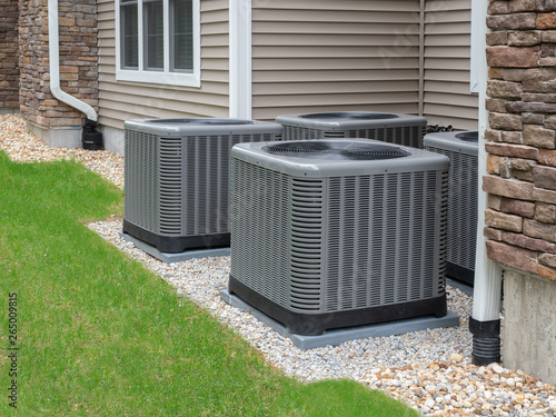 Photo Outdoor air conditioning and heat pump units