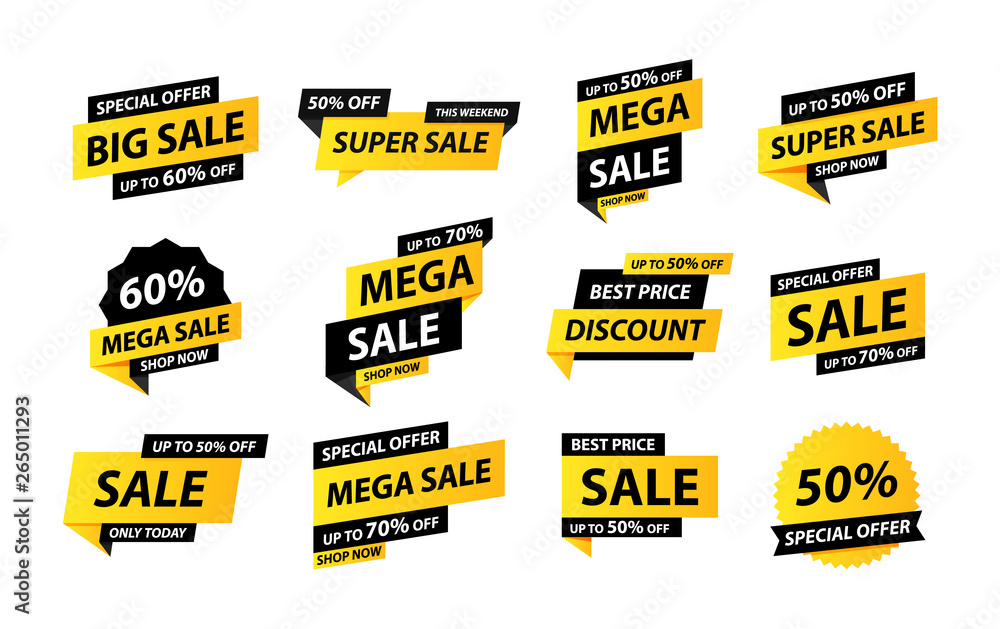 Fototapety, obrazy: Sale tags collection. Special offer, big sale, discount, best price, mega sale banner set. Shop or online shopping. Sticker, badge, coupon, store. Vector Illustration.