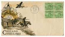 Chicago, Illinois, The USA  - 25 MAY 1933: US Historical Envelope: Cover With Art Cachet A Century Of Progress, Four Green Postage Stamps One Cent, Fort Dearborn, Cancellation World's Fair