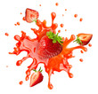 canvas print picture - Sweet fresh strawberry juice or jam splash swirl with strawberry. Red berry juice splashing - strawberries juice isolated. Liquid healthy food or drink fruit design element. 3D render