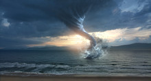Large Tornado Over The Water
