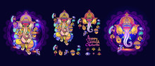 Hindu God Ganesha. Set Of Lord Ganesh Elements. Vector.