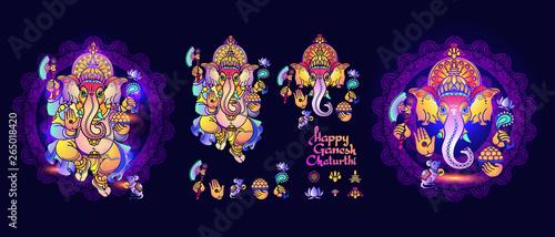 Photo Hindu God Ganesha. Set of Lord Ganesh elements. Vector.