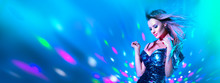 Fashion Model Sexy Woman Dancing In Neon Light. Disco Dancer Posing In UV Colorful Lights