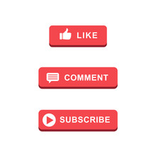 Subscribe Like Play Comment Buttons Red Cool Design Pack Set Icons