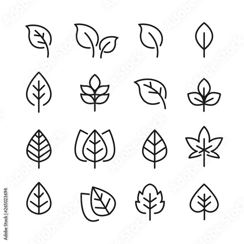 Fototapety, obrazy: leafs pack black and white set icons