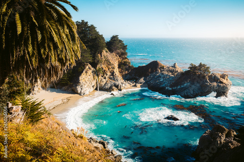 Tuinposter Watervallen McWay Falls at sunset, Big Sur, California, USA