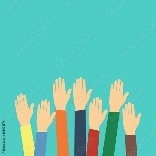 Hands raised up. Flat design style. Vector illustration