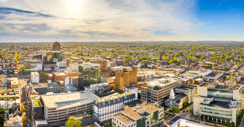 Fototapety, obrazy: Aerial panorama of Allentown, Pennsylvania skyline on late sunny afternoon. Allentown is Pennsylvania's third most populous city.