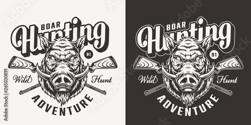 Valokuvatapetti Vintage monochrome boar hunting emblem