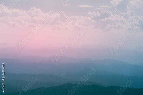 Mountains under amazing colorful sunrise sky