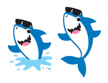 Vector Illustration Of Cute Baby Friendly Shark Wearing Sunglasses Jumping Out Of The Sea In Summer.