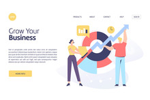 Business Related, Growth And Statistics Theme Vector Illustration Concept For Both Mobile Application And Website Development