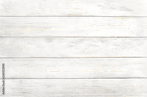 Fotografiet  Vintage white wood background - Old weathered wooden plank painted in white color
