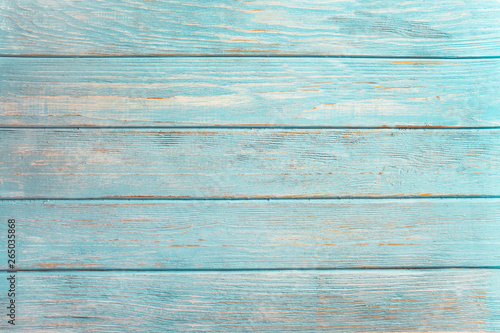 Türaufkleber Holz Vintage beach wood background - Old weathered wooden plank painted in turquoise or blue sea color.