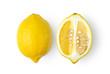 Leinwanddruck Bild - lemon citrus fruit isolated on white background. top view