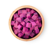 Purple Yams Slice In Wood Bowl On Isolated White Background. Top View