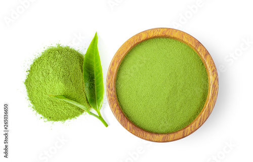 powdered matcha green tea in bowl isolated on white background. top view