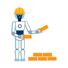 Robot Helps In Building House Flat Illustration