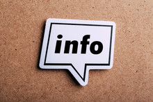 Info Speech Bubble Isolated On Brown Paper Background
