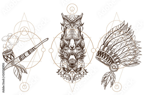 Canvas Prints Owls cartoon Totem eagle, wolf, fox and owl illustration for creating sketches of tattoos, printing on clothes, design of posters and leaflets. A set of outline illustrations with sketches of tattoos.
