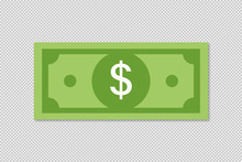 Vector Dollar Money Illustration Or Finence Success Deal Business Solution. Green Money On Transparent Background.