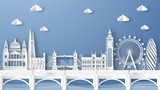 Fototapeta Londyn - Illustration of city scene with famous architectures in London, England. Elements of London city, England. London city scene of England. paper cut and craft style. vector, illustration.