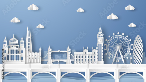 Photo  Illustration of city scene with famous architectures in London, England