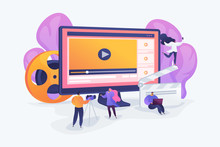 Marketers Creating And Distributing Video Content, Tiny People. Video Content Marketing, Video Marketing Strategy, Digital Marketing Tool Concept. Vector Isolated Concept Creative Illustration.