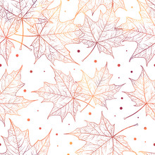 Autumn Maple Leaves Vector Seamless Pattern