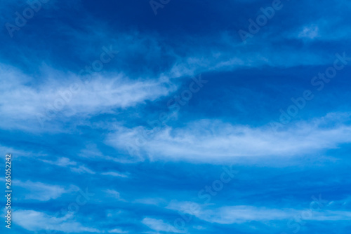 Beautiful Dark Blue Sky And White Clouds Abstract Background