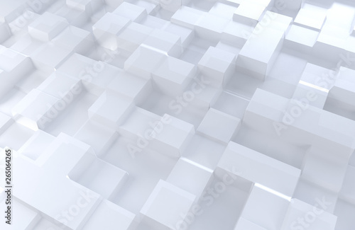 3D illustration white color cubes #265064265