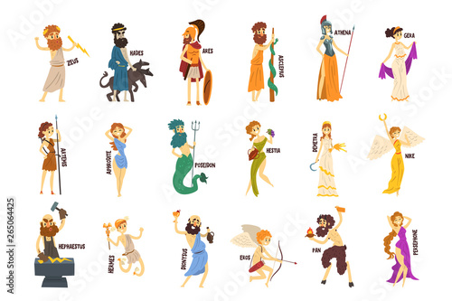Photo Greek Gods set, Dionysus, Hermes, Hephaestus,Zeus, Hades, Poseidon, Aphrodite, A