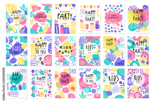 Happy birthday party original design posters set, templates for placard, invitation, poster, card, flyer vector Illustrations - fototapety na wymiar