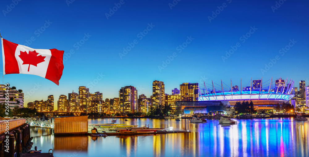 Fototapety, obrazy: Canadian flag in front of view in Vancouver Downtown,British Columbia, Canada