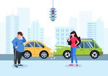 Man And Girl Had A Traffic Accident. Motor Insurance. Girl Calling By Cell Phone. Flat Vector Illustration. Car Accident In The City. Buildings Background.