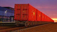 Train With Containers With The Flag Of China Driving Near The Buildings Of The Logistics Center